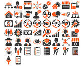 Business Icon Set These flat bicolor icons use orange and gray colors Vector images are isolated on a white background