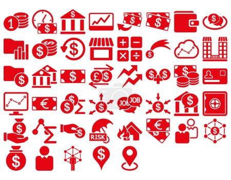 Ilustración de Conjunto de iconos de negocios. Estos iconos planos usan color rojo. Imágenes vectoriales son aisladas en un fondo blanco - Imagen libre de derechos
