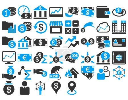 Illustration pour Ensemble d'icônes d'affaires. Ces icônes bicolores plates utilisent des couleurs bleues et grises. Les images vectorielles sont isolées sur un fond blanc - image libre de droit