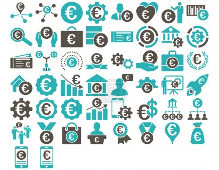 Photo for Euro Business Iconst. These flat bicolor icons use grey and cyan colors. Vector images are isolated on a white background - Royalty Free Image