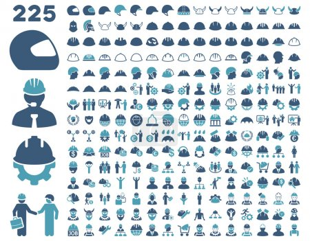 Illustration for Work Safety and Helmet Icon Set. These flat bicolor icons use cyan and blue colors. Vector images are isolated on a white background - Royalty Free Image