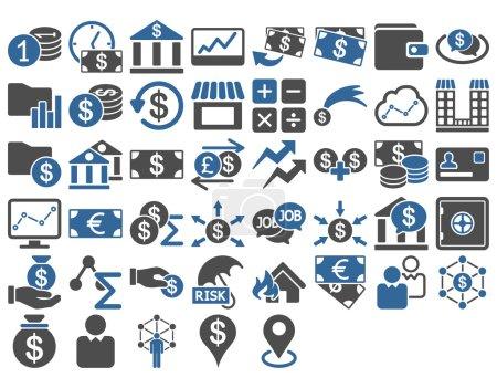 Illustration pour Ensemble d'icônes d'affaires. Ces icônes bicolores plates utilisent du cobalt et des couleurs grises. Les images vectorielles sont isolées sur un fond blanc - image libre de droit