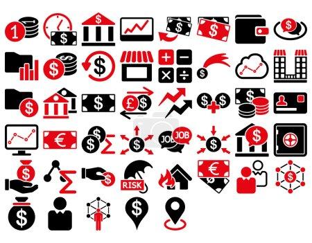 Illustration pour Ensemble d'icônes d'affaires. Ces icônes bicolores plates utilisent des couleurs rouges et noires intenses. Les images vectorielles sont isolées sur un fond blanc - image libre de droit