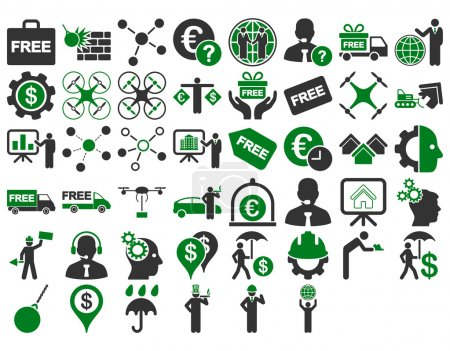Photo for Business Icon Set. These flat bicolor icons use green and gray colors. Vector images are isolated on a white background - Royalty Free Image