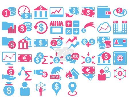 Illustration pour Ensemble d'icônes d'affaires. Ces icônes bicolores plates utilisent des couleurs roses et bleues. Les images vectorielles sont isolées sur un fond blanc - image libre de droit