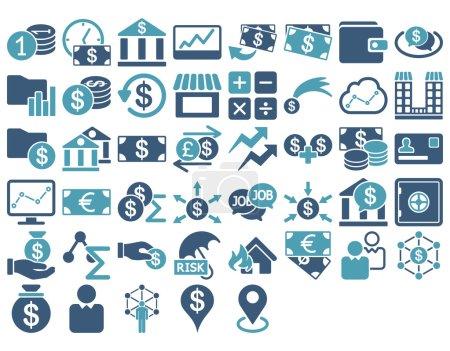 Illustration pour Ensemble d'icônes d'affaires. Ces icônes bicolores plates utilisent des couleurs cyan et bleu. Les images vectorielles sont isolées sur un fond blanc - image libre de droit