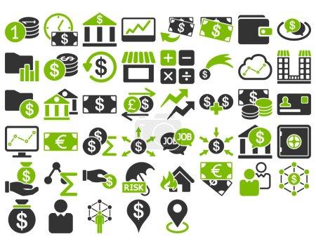 Illustration pour Ensemble d'icônes d'affaires. Ces icônes bicolores plates utilisent des couleurs vert éco et gris. Les images vectorielles sont isolées sur un fond blanc - image libre de droit