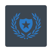 Shield icon from Award Buttons OverColor Set Icon style is smooth blue colors flat rounded square button white background