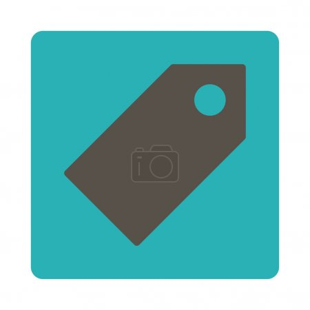 Tag flat grey and cyan colors rounded button