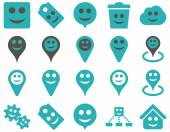 Tools emotions smiles map markers icons