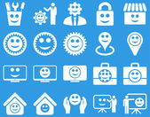 Tools gears smiles management icons Vector set style is flat images white symbols isolated on a blue background