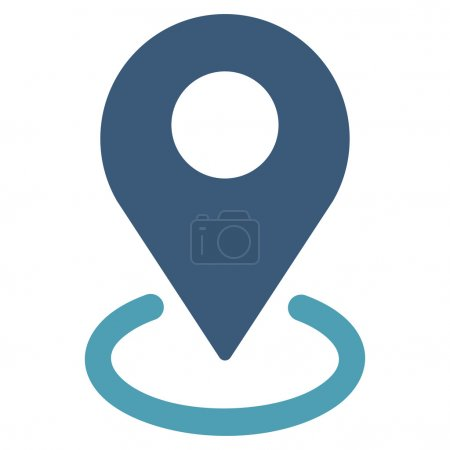 Illustration for Geo Targeting icon from Business Bicolor Set. This flat vector symbol uses cyan and blue colors, rounded angles, and isolated on a white background - Royalty Free Image