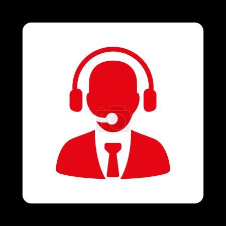 Illustration pour Icône du centre d'appel. Le style vectoriel est rouge et blanc, bouton carré arrondi plat sur un fond noir - image libre de droit