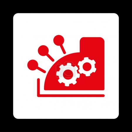 Cash register icon. Vector style is red and white ...