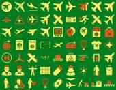 Aviation Icon Set These flat bicolor icons use orange and yellow colors Vector images are isolated on a green background