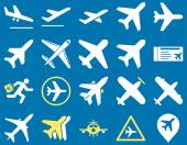 Aviation Icon Set These flat bicolor icons use yellow and white colors Vector images are isolated on a blue background