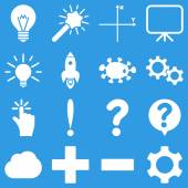 Basic science and knowledge vector icons These plain symbols use white color and isolated on a blue background