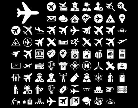 Photo for Aviation Icon Set. These flat icons use white color. Vector images are isolated on a black background - Royalty Free Image