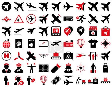 Illustration pour Icône d'aviation prête. Ces icônes bicolores plates utilisent des couleurs rouges et noires intenses. Les images vectorielles sont isolées sur un fond blanc - image libre de droit