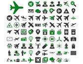 Aviation Icon Set These flat bicolor icons use green and gray colors Vector images are isolated on a white background