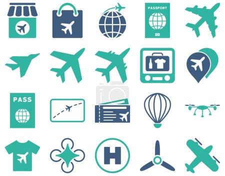 Illustration pour Icône de l'aéroport. Ces icônes bicolores plates utilisent des couleurs cobalt et cyan. Les images vectorielles sont isolées sur un fond blanc - image libre de droit