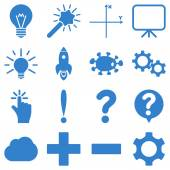 Basic science and knowledge vector icons These plain symbols use cobalt color and isolated on a white background