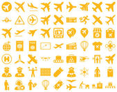Aviation Icon Set These flat icons use yellow color Vector images are isolated on a white background