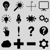 Basic science and knowledge vector icons These plain symbols use black color and isolated on a light gray background