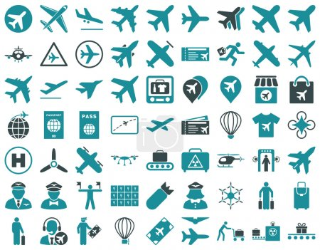 Aviation Icon Set. These flat bicolor icons use so...