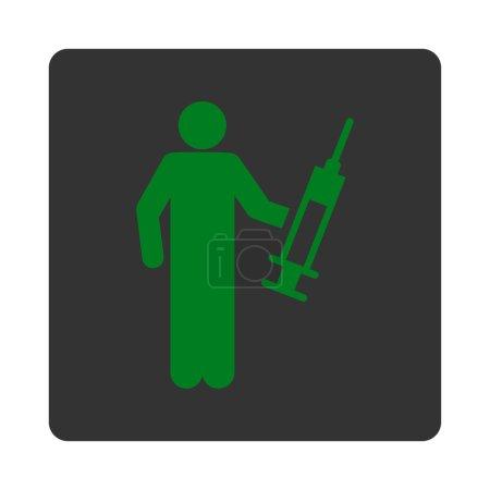 Illustration pour Icône de dealer. Ce bouton carré arrondi plat utilise des couleurs vertes et grises et isolé sur un fond blanc - image libre de droit