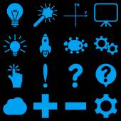 Basic science and knowledge vector icons These plain symbols use blue color and isolated on a black background