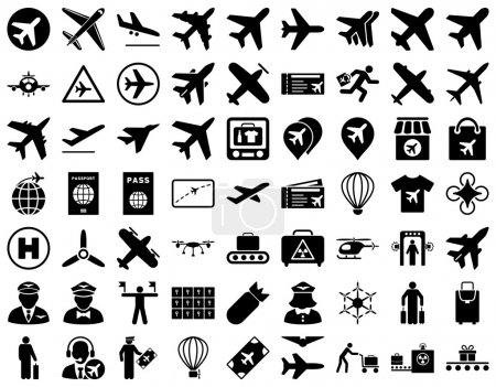 Photo for Aviation Icon Set. These flat icons use black color. Vector images are isolated on a white background - Royalty Free Image