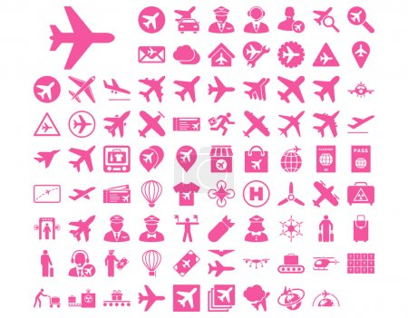 Photo for Aviation Icon Set. These flat icons use pink color. Vector images are isolated on a white background - Royalty Free Image