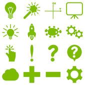 Basic science and knowledge vector icons These plain symbols use eco green color and isolated on a white background