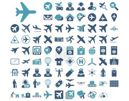 Illustration pour Icône d'aviation prête. Ces icônes bicolores plates utilisent des couleurs cyan et bleu. Les images vectorielles sont isolées sur un fond blanc - image libre de droit