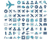 Aviation Icon Set These flat bicolor icons use cyan and blue colors Vector images are isolated on a white background