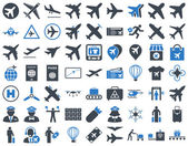 Aviation Icon Set These flat bicolor icons use smooth blue colors Vector images are isolated on a white background