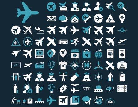 Illustration pour Icône d'aviation prête. Ces icônes bicolores plates utilisent des couleurs bleues et blanches. Les images vectorielles sont isolées sur un fond bleu foncé - image libre de droit