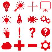 Basic science and knowledge vector icons These plain symbols use red color and isolated on a white background
