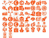Euro Business Iconst These flat icons use orange color Vector images are isolated on a white background