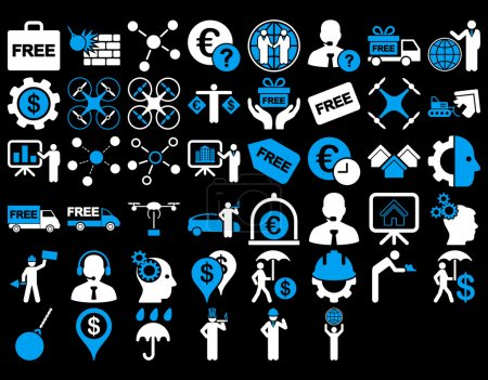 Photo for Business Icon Set. These flat bicolor icons use blue and white colors. Vector images are isolated on a black background - Royalty Free Image