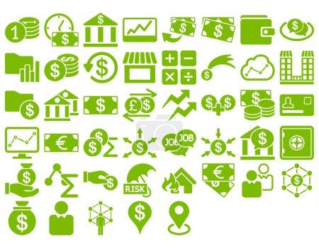 Illustration pour Ensemble d'icônes d'affaires. Ces icônes plates utilisent une couleur éco-verte. Les images vectorielles sont isolées sur un fond blanc - image libre de droit