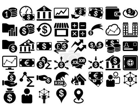 Illustration pour Ensemble d'icônes d'affaires. Ces icônes plates utilisent la couleur noire. Les images vectorielles sont isolées sur un fond blanc - image libre de droit