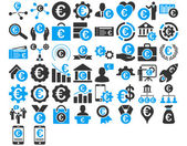 Euro Business Iconst These flat bicolor icons use blue and gray colors Vector images are isolated on a white background