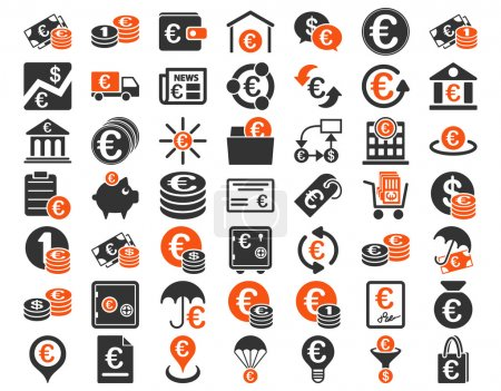Photo for Euro Banking Icons. These flat bicolor icons use orange and gray colors. Vector images are isolated on a white background - Royalty Free Image