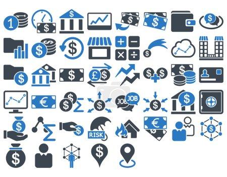 Illustration pour Ensemble d'icônes d'affaires. Ces icônes bicolores plates utilisent des couleurs bleues lisses. Les images vectorielles sont isolées sur un fond blanc - image libre de droit