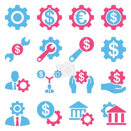Photo for Financial tools and options icon set. Vector style is flat bicolor symbols, pink and blue colors, rounded angles, white background - Royalty Free Image