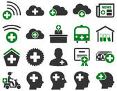 Medical icon set Style is bicolor icons drawn with green and gray colors on a white background