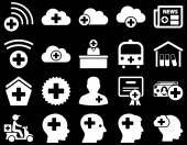 Medical icon set Style is icons drawn with white color on a black background