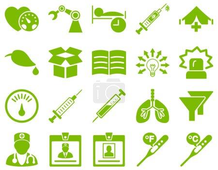 Illustration pour Ensemble d'icône médicale. Style est des icônes dessinées avec une couleur vert éco sur un fond blanc - image libre de droit
